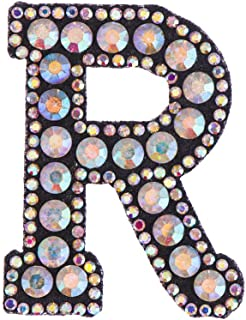 1PC Beaded Rhinestone Patches A-Z Letter Alphabet Crystal Applique Sew On Iron On Diamante Patch Clothing Accessories(R)