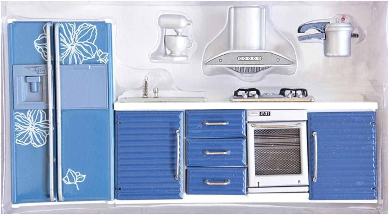BESTLEE 1 12 Scale bluee Kitchen Set Gas Stove+Sink+Refrigerator+Hood+Pressure Cooker
