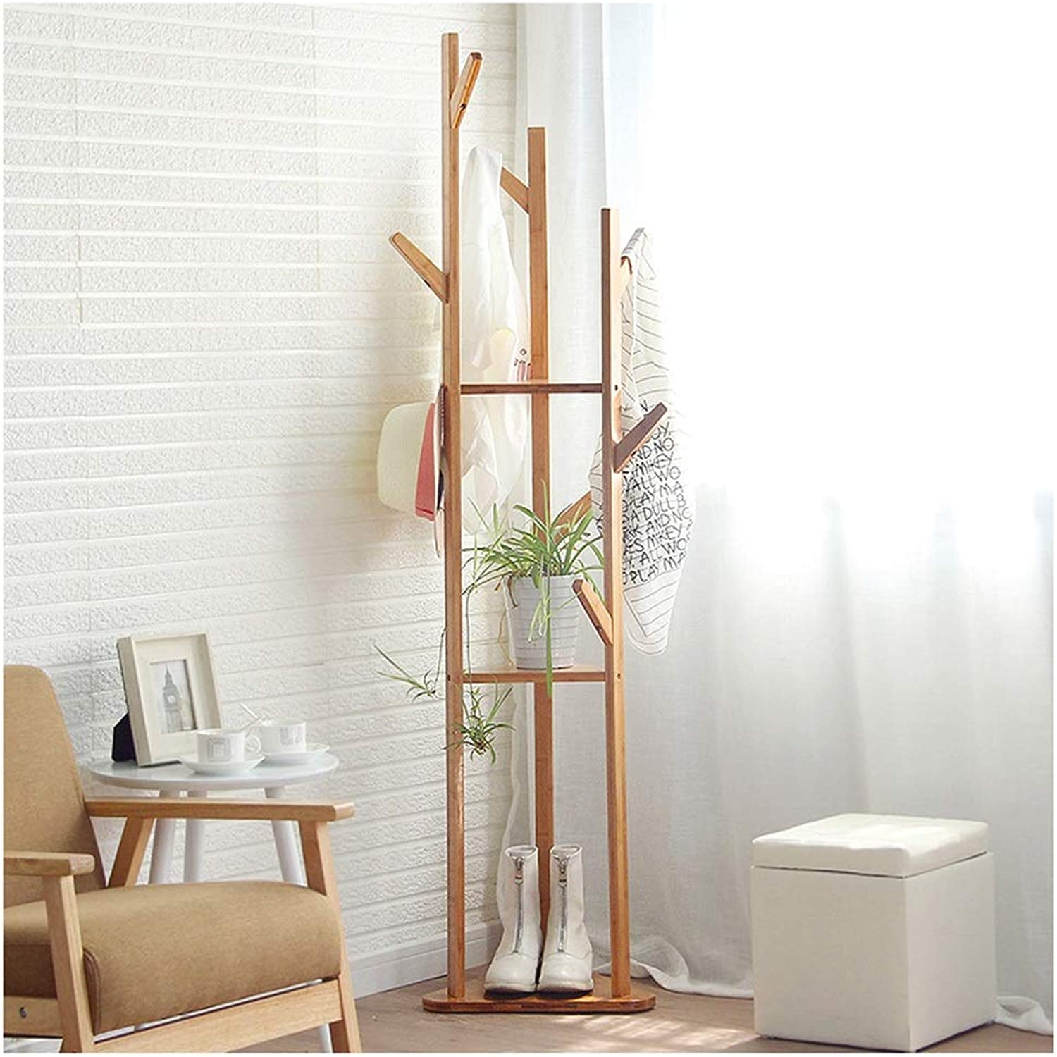 Y.H_Super Coat Racks Standing Coat Rack in Black Finish Bentwood Solid Wood Coat Hat Umbrella Floor Standing Rack Prestige Hall Trees Bedroom Hallway
