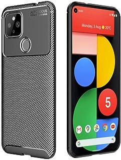 Toppix 対応: Google Pixel 5 ケース, 保護カバーTPU, 保護バンパー 弾力性付き [特化した] [カーボンルック] 耐衝撃バンパー Google Pixel 5用 カバー (ブラック)