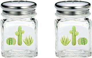 Glass Cactus Salt And Pepper Shakers