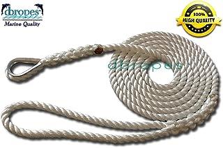 3 Strand Mooring Pendant Premium 100% Nylon Rope 1/2' X 10' with Thimble (Tensile Strength 6400 lbs.)
