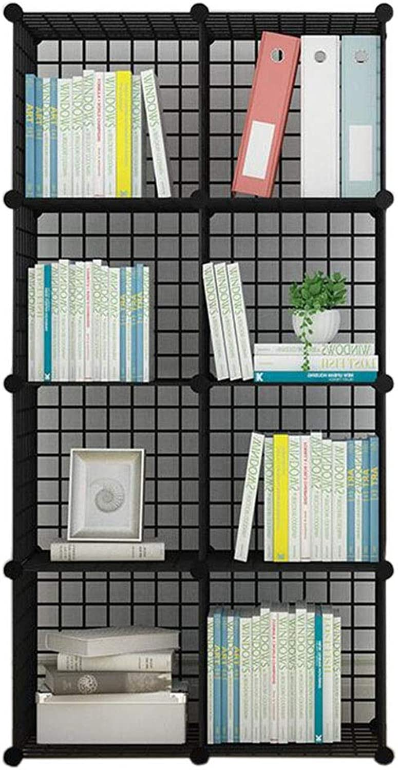 JCAFA Shelves Bookshelf Modern Industrial Bookcase Display Shelf Cubes Storage Organizer Metal Frame Toy Storage Cabinet, Multi-Grid (color   Black, Size   8 Grid 29.92  14.56  57.87in)