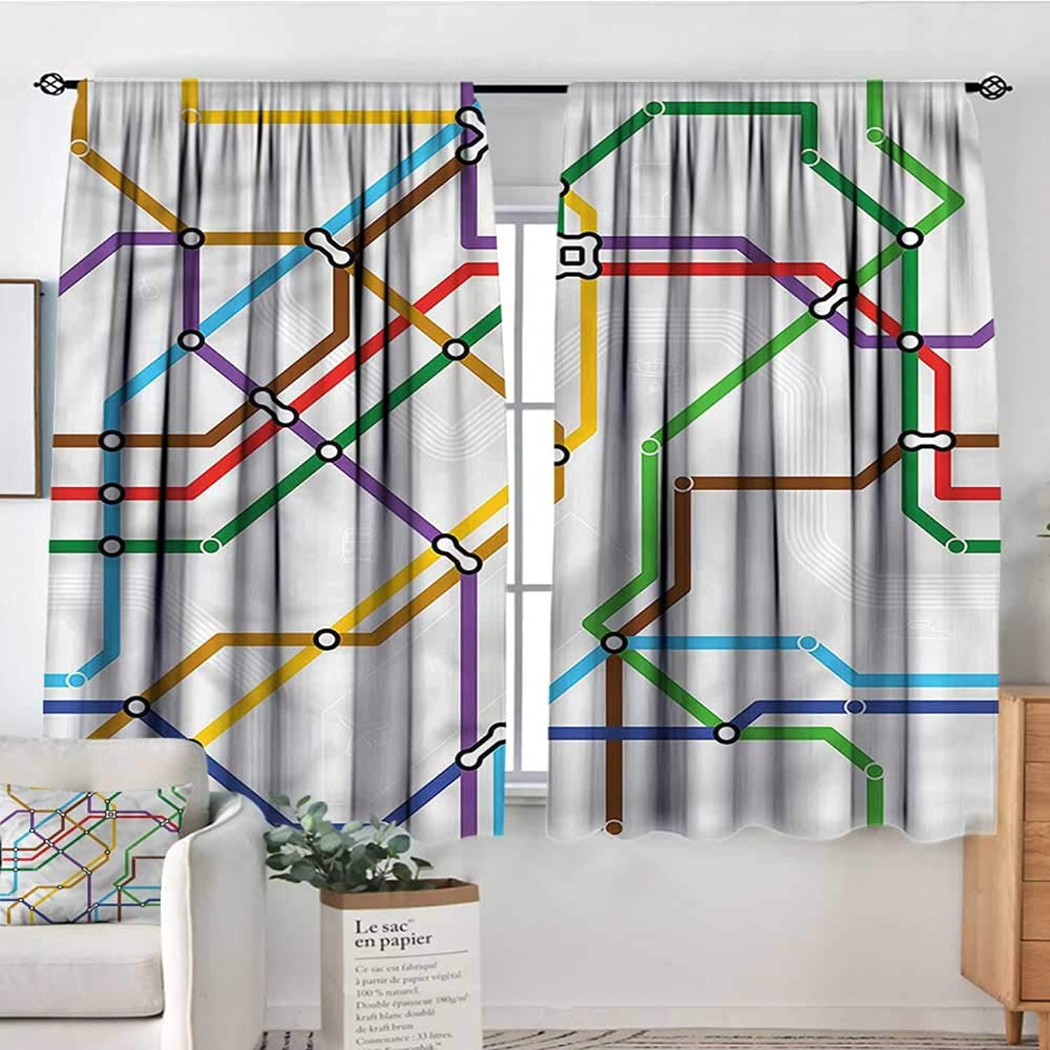 Map,Bocking Ight Rod Curtains Vibrant Striped Metro Route 52 x63  for Baby Bedroom