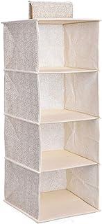 EXQULEG Organiseur de rangement suspendu pliable pour penderie (beige, 4 niveaux)