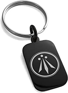 Stainless Steel Celtic Awen Arwen Three Rays Symbol Small Rectangle Dog Tag Charm Keychain Keyring