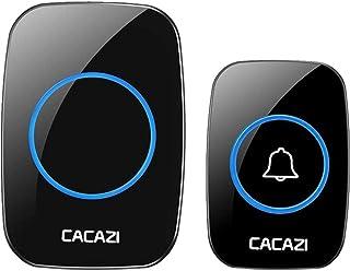 Wireless Doorbell Waterproof LED Indicator Adjustable Volume Door Bell with 1 Remote Button Receivers CACAZI