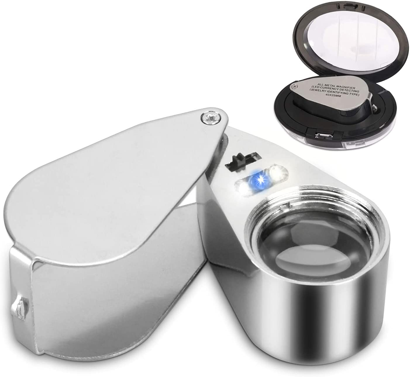 Directly managed store 40X Metal Illuminated Jewelers Loop Miami Mall Glass Loupe M JLY Magnifier
