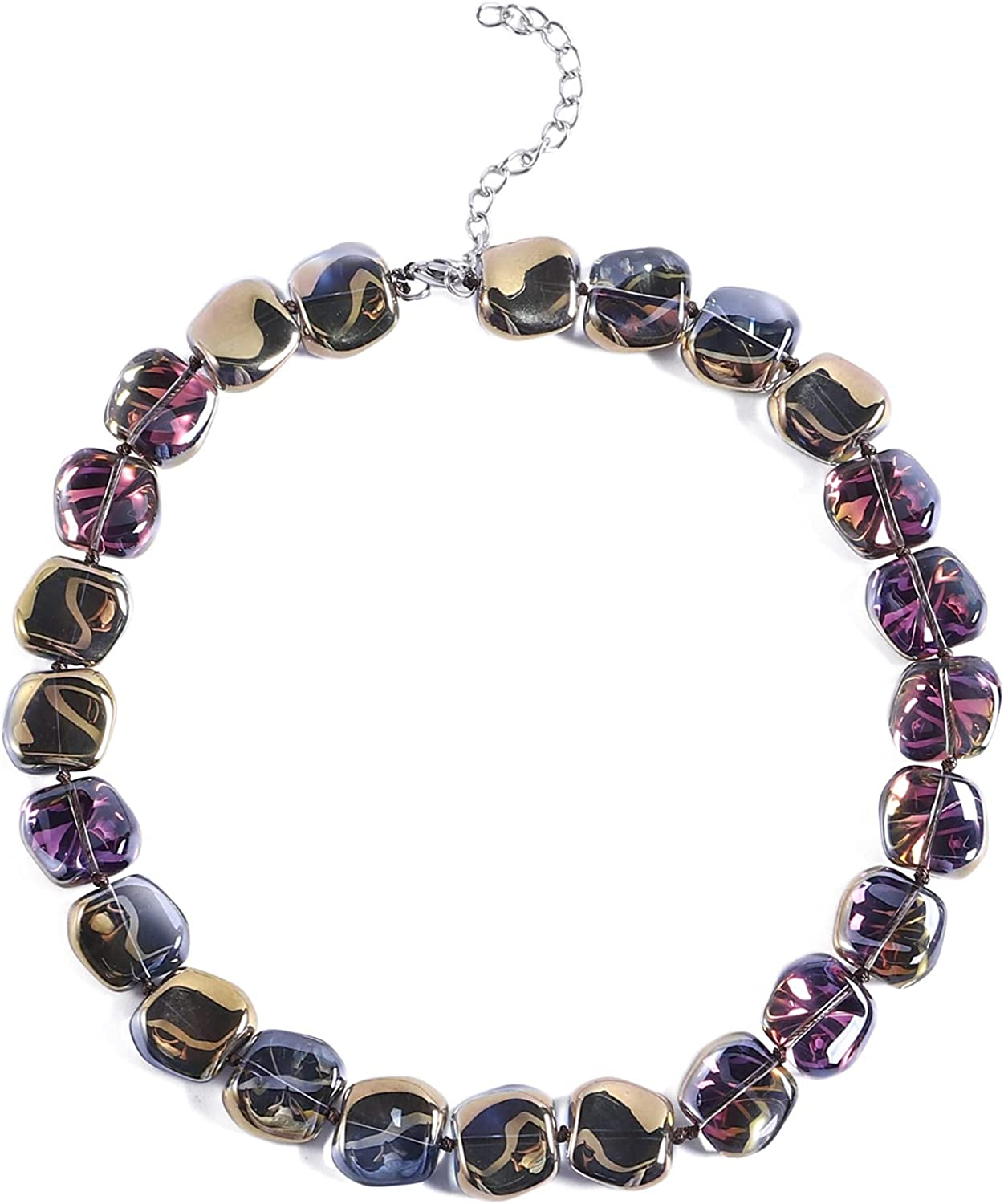 20.9inch Bib Necklace Crystal Big Bead Choker Statement Necklace Trendy Chunky Handmade Necklace for Women Girls