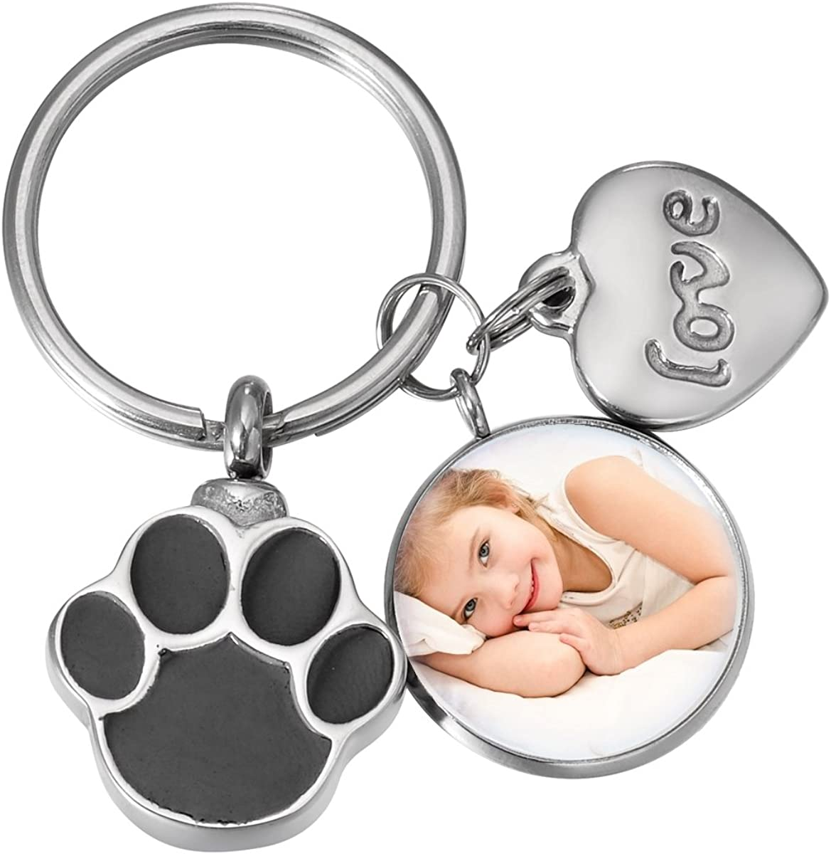 Pet Cremation Paw Cat Ash Dog Urn Stainless Steel Cremation Jewelry Keepsake Fillable Locket Heart Jewelry Always My Heart Memorial Pet