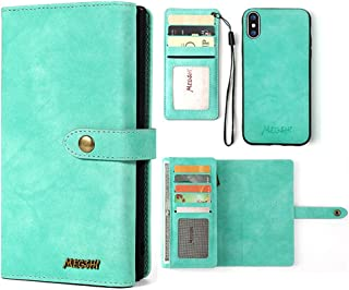 Janker iPhone XS Phone Case, Leather Wallets Case For Men Women, Card Cases for Apple iPhone XS, Multi-Function Phone Kickstand Protection Cover With Credit Card Holder, Turquoise