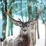 20 tovaglioli con cervo sotto fiocchi di neve come decorazione da tavolo per gli amanti degli animali e delle foreste 33 x 33 cm