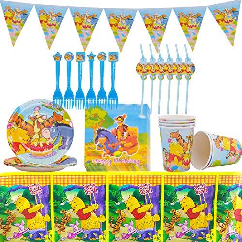 ZSWQ Winnie Puuh Party Set 36pcs Winnie Puuh Partygeschirr Dient Teller, Tassen, Servietten, Strohhalme, Gabeln für die Geburtstagsfeier, Tischdecken, Wimpel