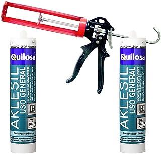 Set pistola de silicona profesional Bellota + 2 cartuchos silicona acida Quilosa Kabra