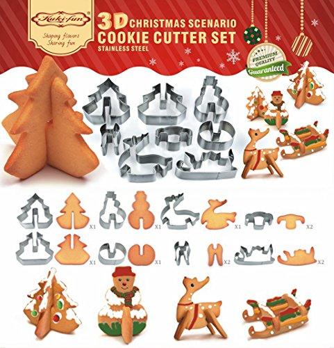 3d Biscuits Moule à biscuit en acier inoxydable (DE Sapin de Noël, bonhomme de neige, traîneau, d'élan), Yicol nouveaux produits de l'Atmosphère Festive.