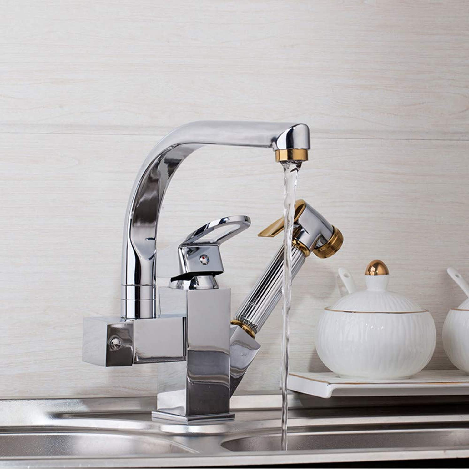 Lddpl Solid Brass Kitchen Mixer gold Polished Hot &Cold Kitchen Tap Single Hole Water Tap Kitchen Faucet