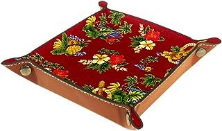 Boîte de rangement carrée en cuir synthétique pour dés, jeux, clés, portefeuille, pièces de monnaie, plateau de bureau, pl...