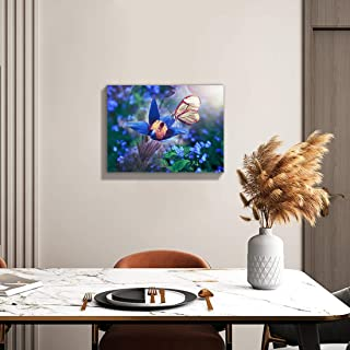 Loomarte Blue Orchid Flowers Butterfly Wall Art Floral Picture Canvas Print Spring Nature Landscape Photo Painting Framed ...