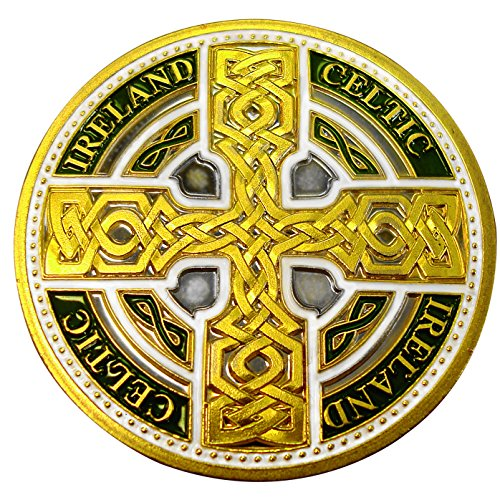 Carrolls Irish Gifts Collectors Edition Coloured Celtic Knot Cross with Ireland and Celtic Text Token