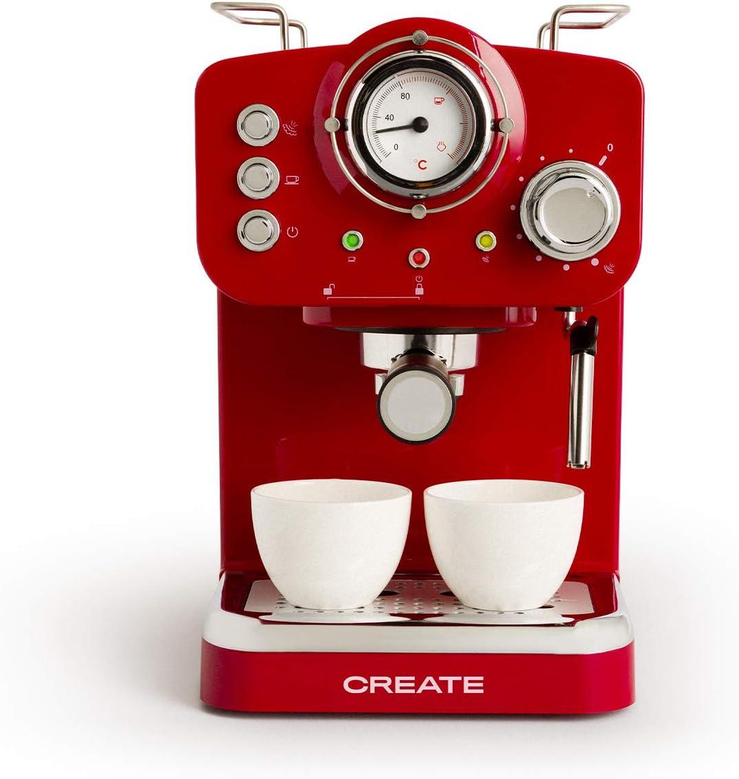 IKOHS THERA Retro - Cafetera Express para Espresso y Cappucino, 1100W, 15 Bares, Vaporizador Orientable, Capacidad 1.25l, Café Molido y Monodosis, con Doble Salida (Rojo)