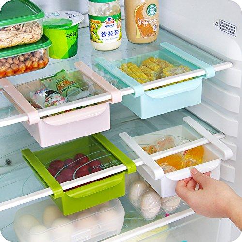 Klemm-Schublade Multifunktions-Organizer für Kühlschrank/Gefrierschrank, mit ausziehbaren Schubladen, Aufbewahrungsbox Kühlschrankbox für Gemüsefach Kühlfach weiß