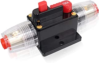 EurDiza 12V-24V DC Circuit Breaker 100A: Manual Reset Inline Fuse Holders Inverter Auto Car Overload Protection Stereo Swi...