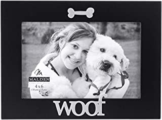 Malden International Designs Black Wood Expression Picture Frame, Woof, 4x6, Black