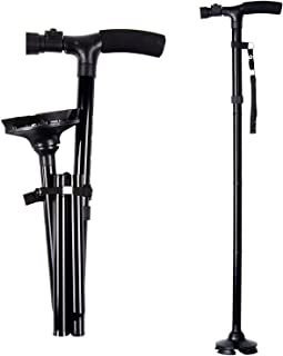 Ohuhu Folding Walking Cane with LED Light, Adjustable Walking Stick with Carrying Bag for..