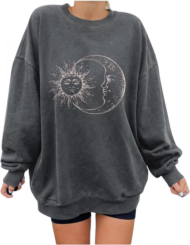 FABIURT Long Sleeve Shirts for Women,Women's Sun Moon Vintage Graphic Crewneck Sweatshirt Oversized Pullover Tops Tee