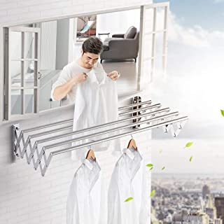 N/Z Home Equipment Airer 304 Stainless Steel Cloth Drying Line Push Pull Bathroom Balcony Outdoor Folding Telescopic Wall ...