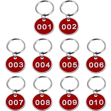 Wakauto palestra armadietti ufficio saune con anello scuole colore rosso dormitorio 10 pezzi Portachiavi con numero rotondo in metallo da 1 a 10 per hotel
