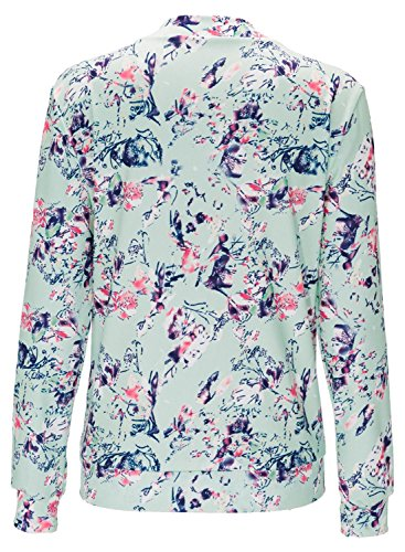 IF FEEL Womens Casual Floral Print Long Sleeve Bomber Jacket ((US 8-10)M, Pink)