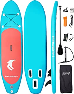 FAYEAN Inflatable Stand Up Paddle Board SUP ISUP Board 10' x 30''x 6'' Thick Includes Pump, Paddle, Backpack, Coil Leash,F...