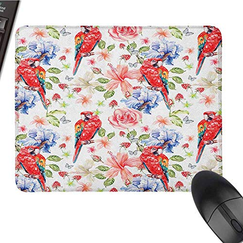 Parrot Waterproof Mouse pad Pastel Colored Parrots Iris and Roses on Berry Background Retro Inspired Romantic Suitable for Any Type of Mouse W12 x L27.5 x H0.8 Inch Multicolor