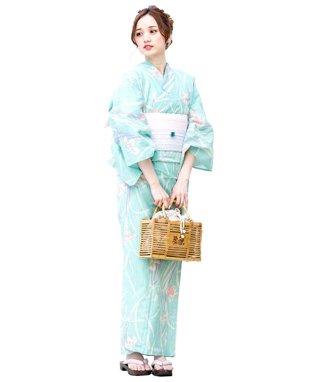 (ソウビエン)レディース浴衣セット 水色 ライトブルー 生成り 菖蒲 花 綿麻 女性 花火大会