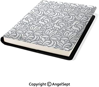 Stretchable Book Covers Online,Flourishing Floral Patterns Baroque Old Fashione Patterns in Mod Art Nature Home Gray White,9