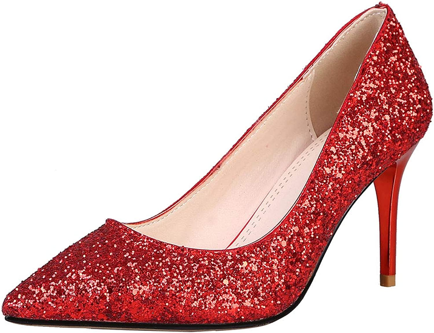 KemeKiss Women Sexy Pointed Toe Pumps Wedding Thin Heels Pumps Glitter Party shoes