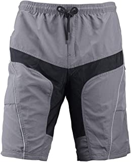 Perfk Mens Mountain Biking Shorts Bike Shorts Loose Fit Cycling Baggy Lightweight Pants with Zip Pockets & Removeable 4D Padded Gray Shorts