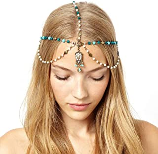 YERTTER Women Boho Vintage Gold Metal Multilayer Head Chain Headpieces Hair Accessories Party Hair Jewelry for Women and G...