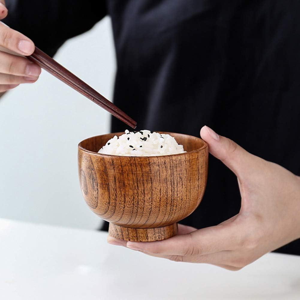 Mini Style Japonais Rond Bois Solide Bol Anti- Scalding Portion Vaisselle pour Soupe Condiments Fruits POHOVE 4Pcs Bois Bol Collations Dip Sauce Ap/éritif Noix Bonbon