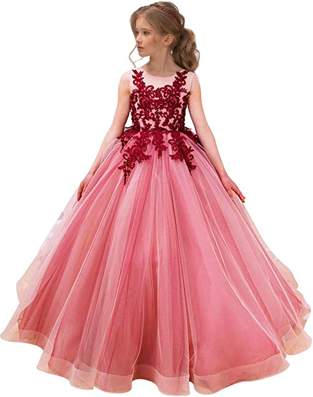 MuchXi Vintage Floral Lace Flower Girl Dresses Sleeveless Princess Pageant Baptism Prom Ball Gown