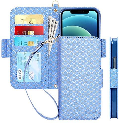 "Skycase Compatible for iPhone 12 Case/Compatible for iPhone 12 Pro Case,[RFID Blocking] Handmade Flip Wallet Case with Card Slots and Detachable Hand Strap for iPhone 12/12 Pro 6.1"" 2020,Fish-Navy"