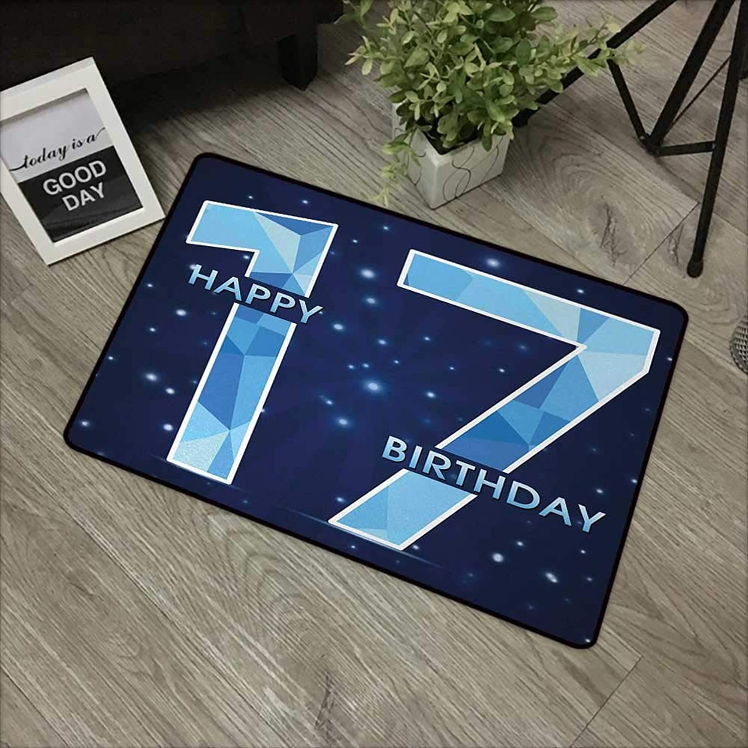 Pad W35 x L59 INCH 17th Birthday,Space Stage Theme Image with Star Like Dots Seventeen Youth Theme,Sky bluee and Navy bluee Non-Slip, with Non-Slip Backing,Non-Slip Door Mat Carpet