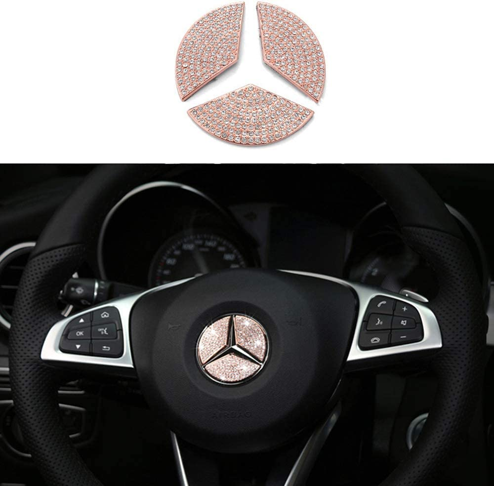 TopDall Cheap mail order sales Steering Max 58% OFF Wheel Bling Crystal Accessory D Emblem Interior