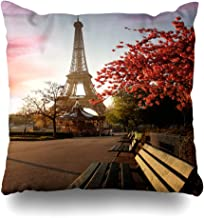 Ahawoso Throw Pillow Cover Black Purple Europe Spring Morning Eiffel Tower Paris Tourists France Parks City Skyline Famous Home Decor Pillow Case Square Size 16x16 Inches Zippered Pillowcase