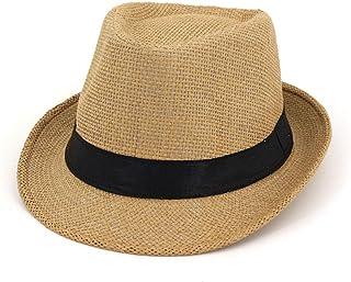 SXQ Jazz Hat Fashionable Outdoor Travelling Hollow Hat Straw Hat Men's Women's Summer Beach Hat with Black Cloth Decoration Sun Hat for Vocation Seaside Beach Hat Sun Hat