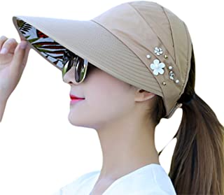 Bullidea Sun Cap Ladies Foldable Beach Hat Wide Brim Plain Visor Hat Summer UV Sun protection Travel Casual