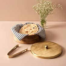 Nestroots® Wooden Chapati Box Roti Casserole with Tong for Dining Table/Parties/Home/Restaurant/Cafes (Gold)
