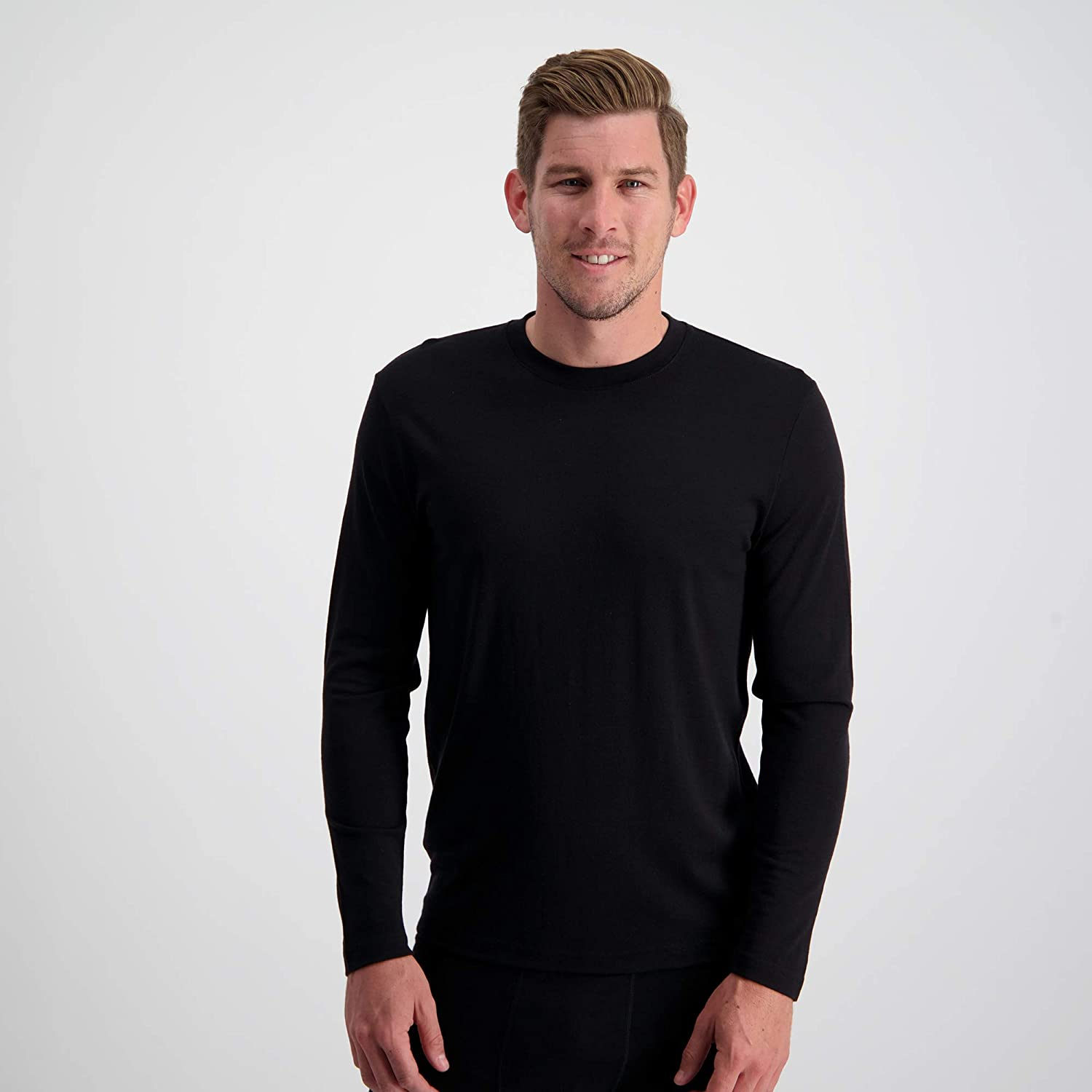 Mens 100% Pure Soft Merino Thermal Base Layer Wool Top Black or Charcoal