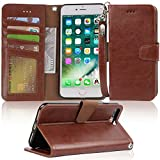 Arae Case for iPhone 7 Plus/iPhone 8 Plus, Premium PU Leather Wallet Case with Kickstand and Flip Cover for iPhone 7 Plus (2016) / iPhone 8 Plus (2017) 5.5 inch - Brown